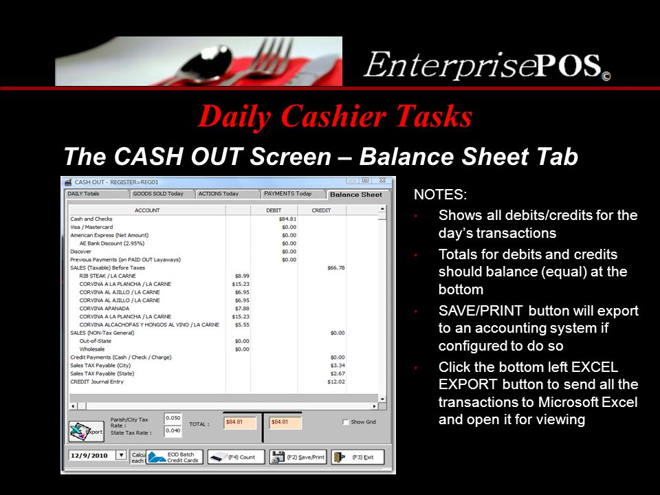 Daily Cashier Tasks The CASH OUT Screen – Balance Sheet Tab NOTES: Shows all debits/credits for the days transactions Totals for debits and credits sh