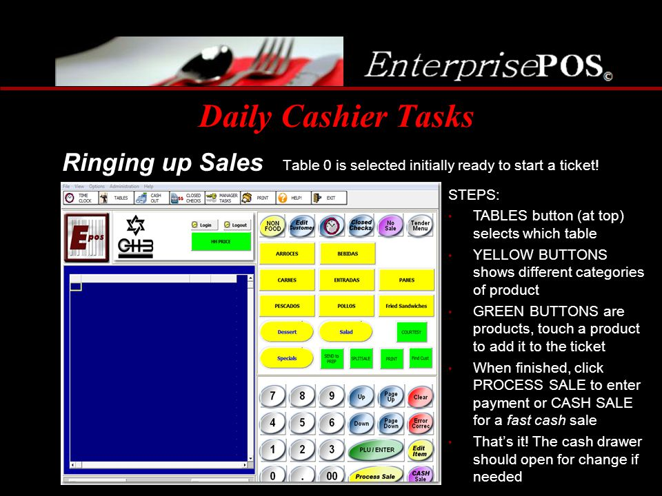 Daily Cashier Tasks Table 0 is selected initially ready to start a ticket! Ringing up Sales STEPS: TABLES button (at top) selects which table YELLOW B
