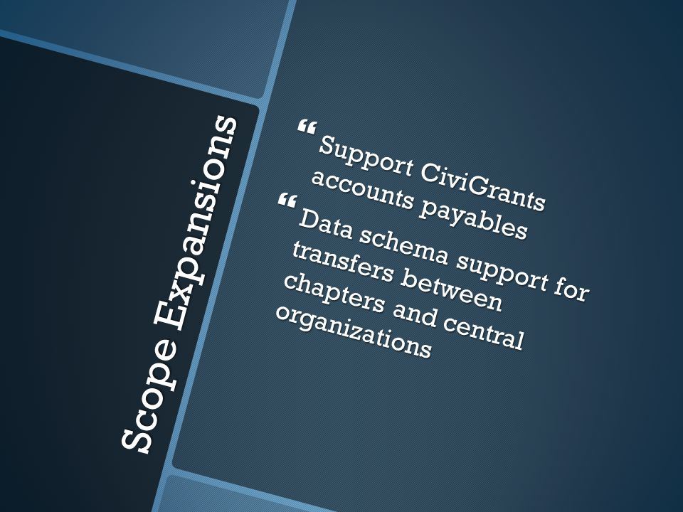 Scope Expansions Support CiviGrants accounts payables Support CiviGrants accounts payables Data schema support for transfers between chapters and central organizations Data schema support for transfers between chapters and central organizations