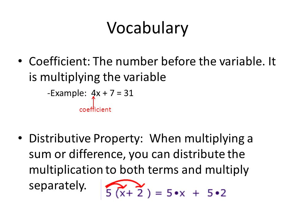 Vocabulary Coefficient: The number before the variable.