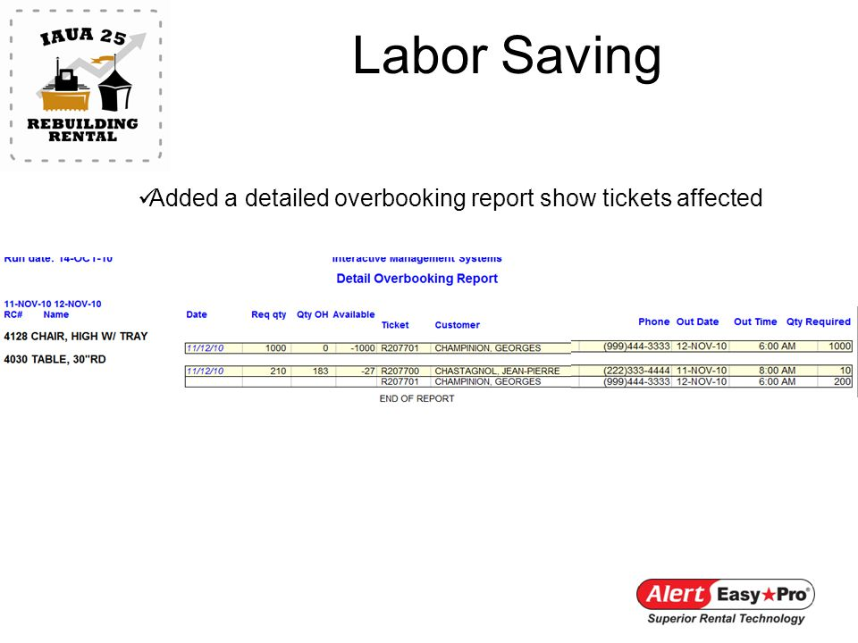 Labor Saving Added a detailed overbooking report show tickets affected