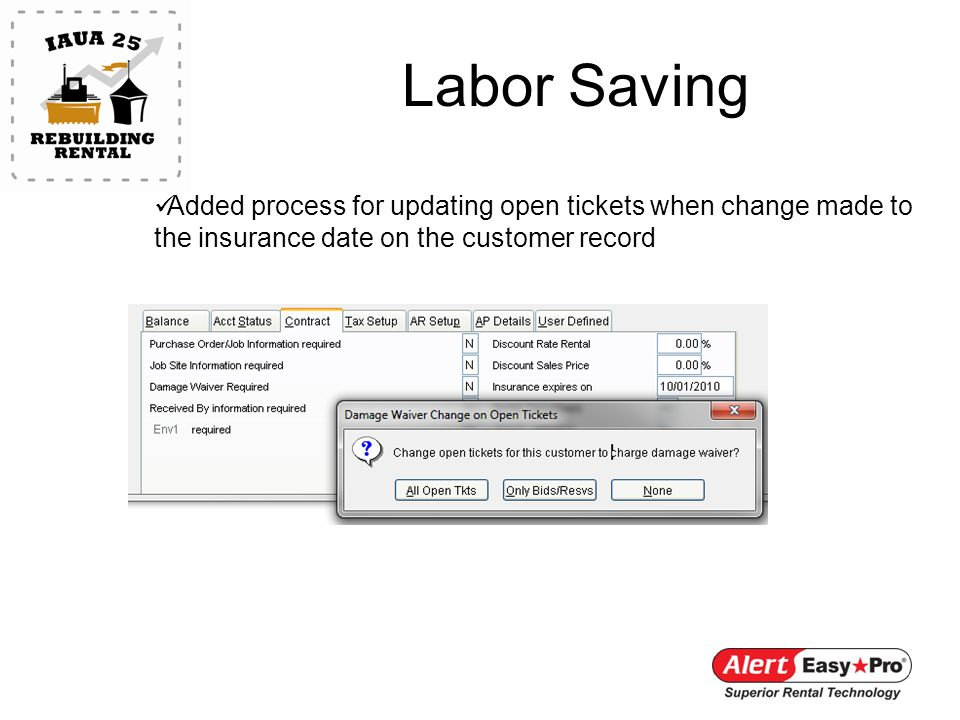 Labor Saving Added process for updating open tickets when change made to the insurance date on the customer record