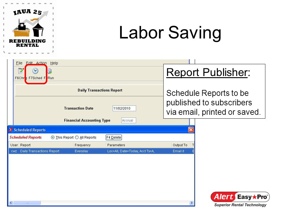 Labor Saving Report Publisher: Schedule Reports to be published to subscribers via email, printed or saved.