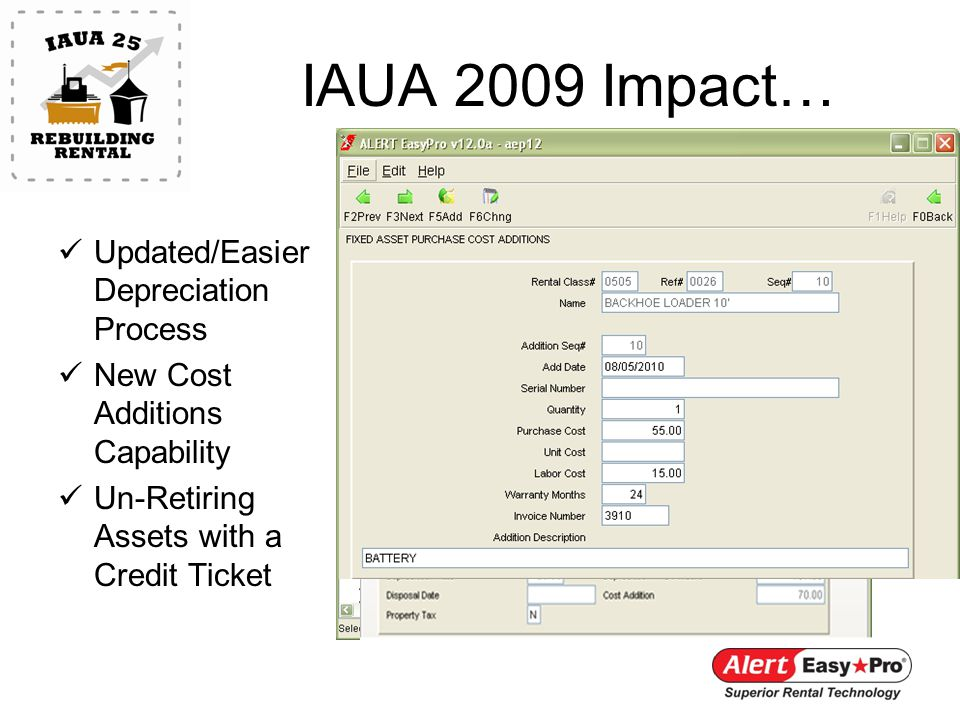 IAUA 2009 Impact… Updated/Easier Depreciation Process New Cost Additions Capability Un-Retiring Assets with a Credit Ticket