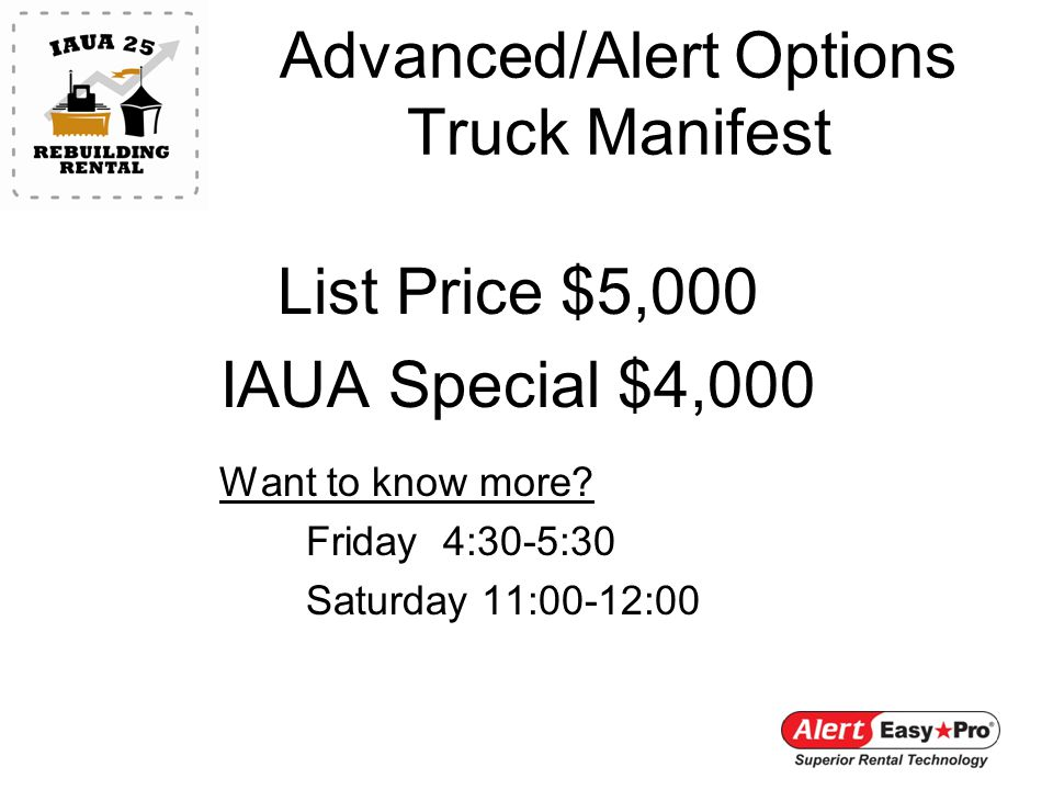 List Price $5,000 IAUA Special $4,000 Want to know more.