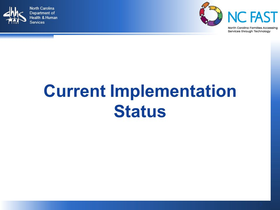 3 North Carolina Department of Health & Human Services 3 Current Implementation Status