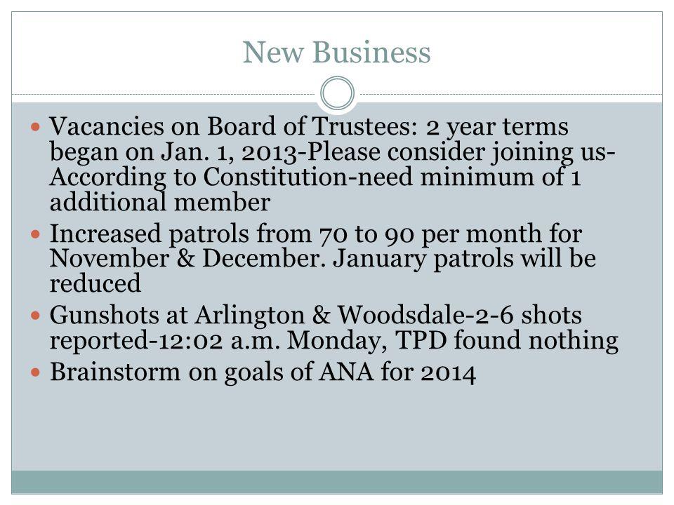 New Business Vacancies on Board of Trustees: 2 year terms began on Jan.