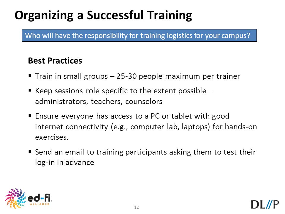12 Organizing a Successful Training Best Practices Train in small groups – 25-30 people maximum per trainer Keep sessions role specific to the extent