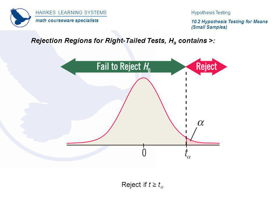 HAWKES LEARNING SYSTEMS math courseware specialists Rejection Regions for Right-Tailed Tests, H a contains >: Hypothesis Testing 10.2 Hypothesis Testi