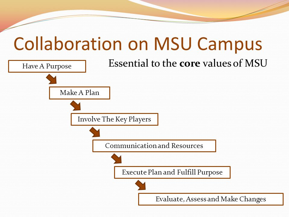 Collaboration on MSU Campus Essential to the core values of MSU Have A Purpose Make A Plan Involve The Key Players Communication and Resources Execute Plan and Fulfill Purpose Evaluate, Assess and Make Changes