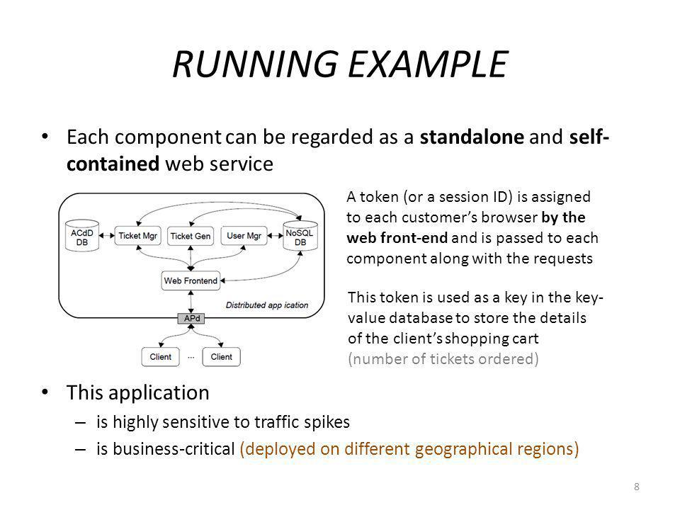 RUNNING EXAMPLE Each component can be regarded as a standalone and self- contained web service This application – is highly sensitive to traffic spikes – is business-critical (deployed on different geographical regions) 8 A token (or a session ID) is assigned to each customers browser by the web front-end and is passed to each component along with the requests This token is used as a key in the key- value database to store the details of the clients shopping cart (number of tickets ordered)