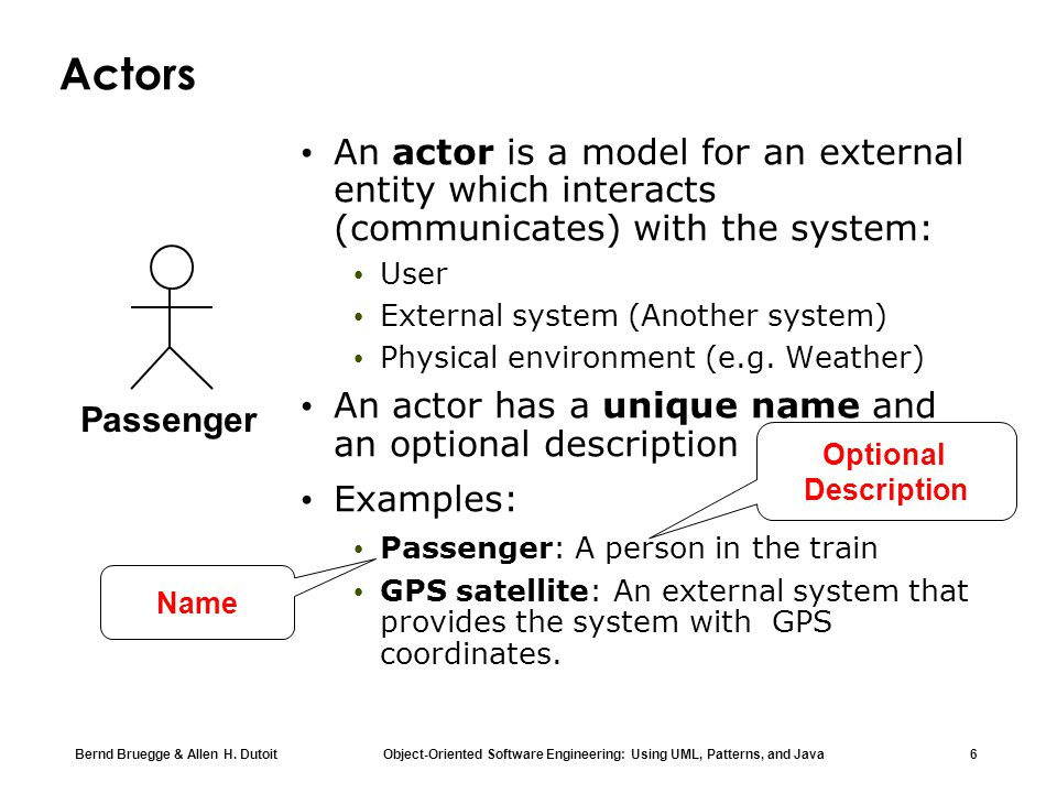 Bernd Bruegge & Allen H. Dutoit Object-Oriented Software Engineering: Using UML, Patterns, and Java 6 Actors An actor is a model for an external entit