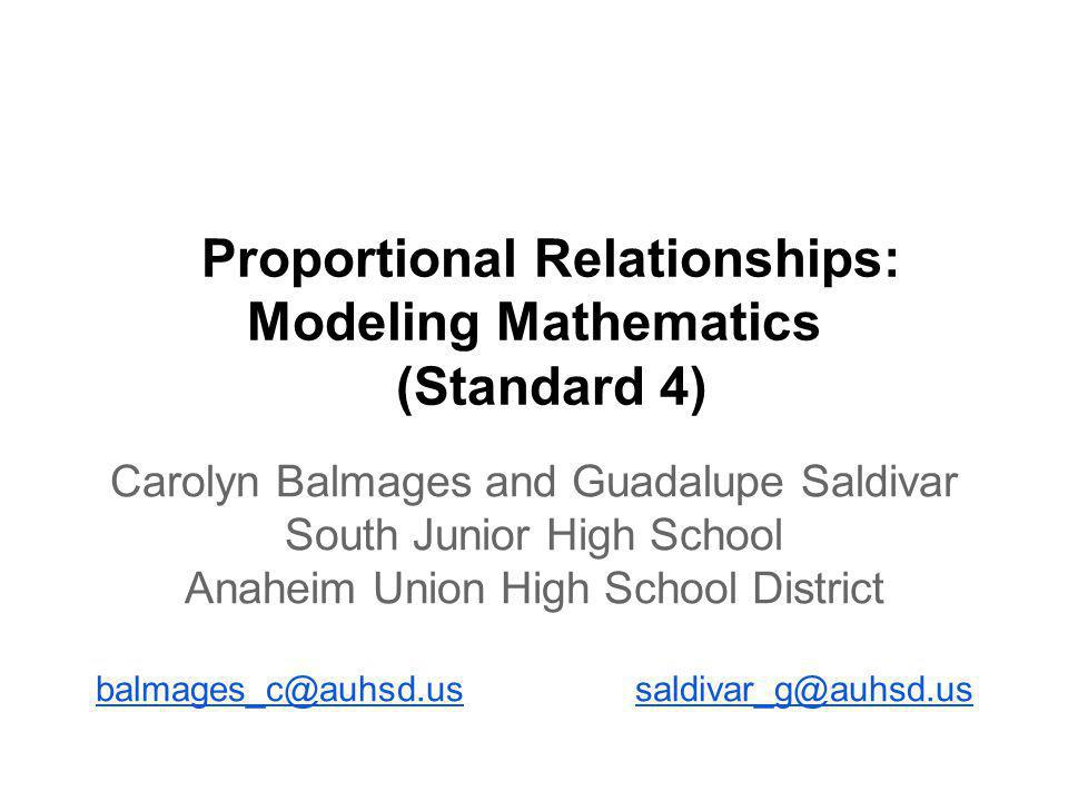 Additional Resources Proportionality Lessons (Provided by University of California Irvine, Irvine Math Project) http://auhsdmath.pbworks.com/ http://auhsdmath.pbworks.com/w/browse/#view=ViewFolder&param=Proportional%20Relationships%20A http://auhsdmath.pbworks.com/w/browse/#view=ViewFolder&param=Proportional%20Relationships%20B%20Percent Double Numberline Resources (Provided by Tad Watanabe from Kennesaw State University) http://science.kennesaw.edu/~twatanab/DeKalb%20Titl e%20I%20Summit%202012.pdf Additional Real Life Applications http://blog.mrmeyer.com/?p=8713