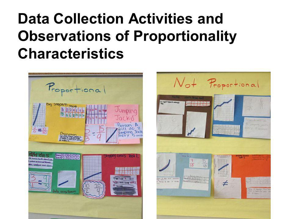 Data Collection Activities and Observations of Proportionality Characteristics
