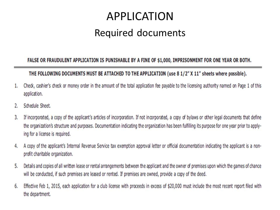 APPLICATION Required documents