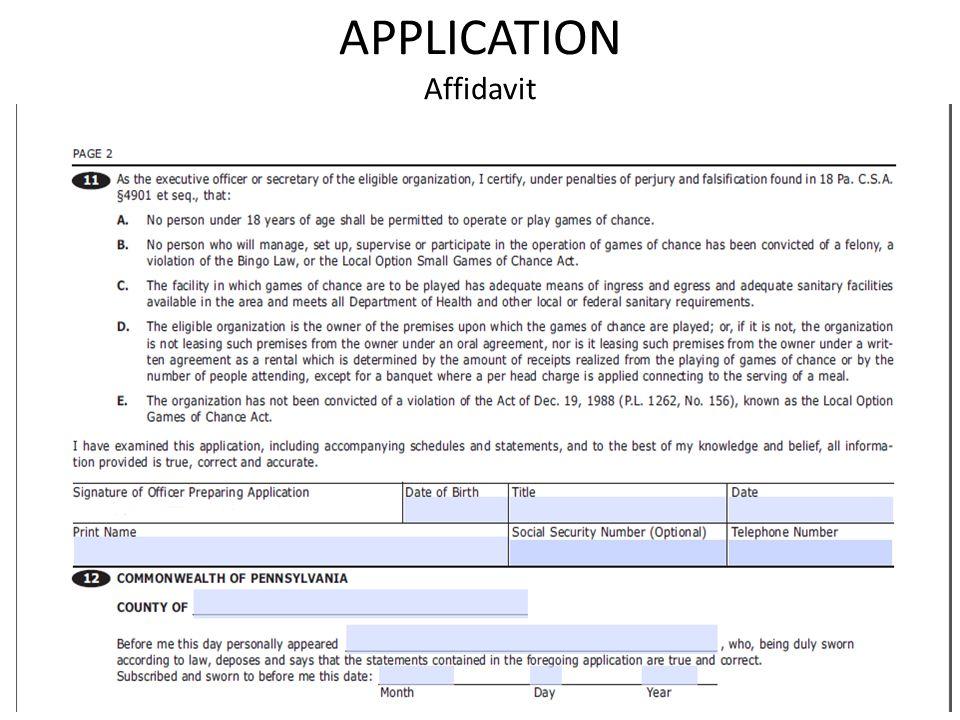 APPLICATION Affidavit