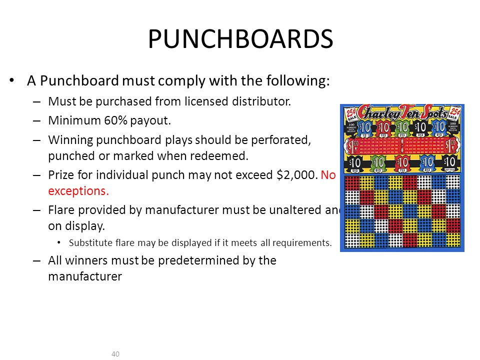 40 PUNCHBOARDS A Punchboard must comply with the following: – Must be purchased from licensed distributor.
