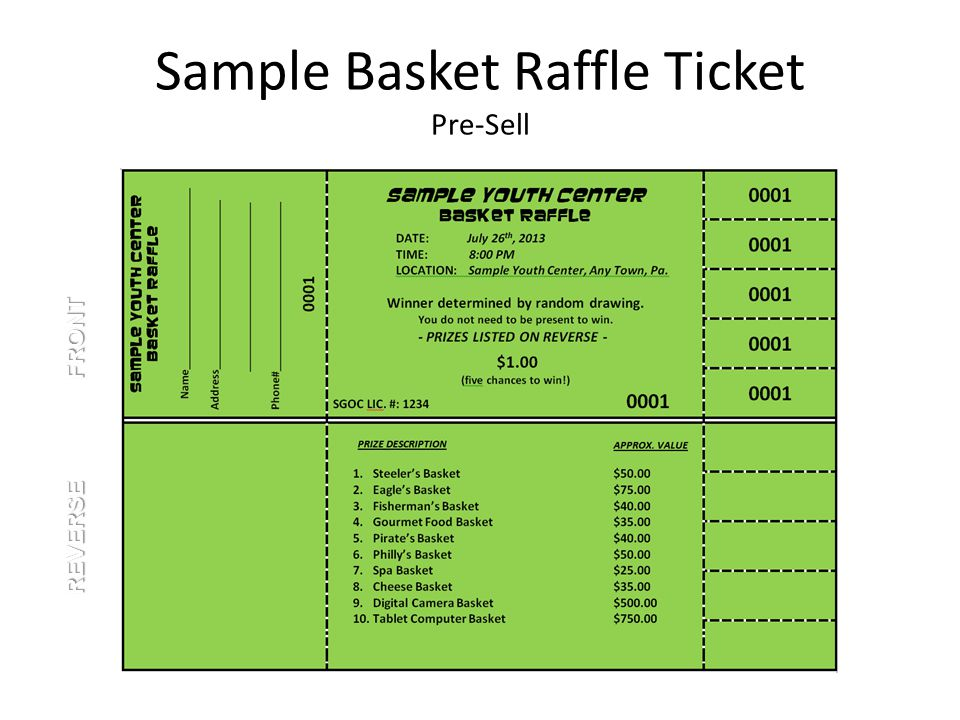 Sample Basket Raffle Ticket Pre-Sell REVERSE FRONT