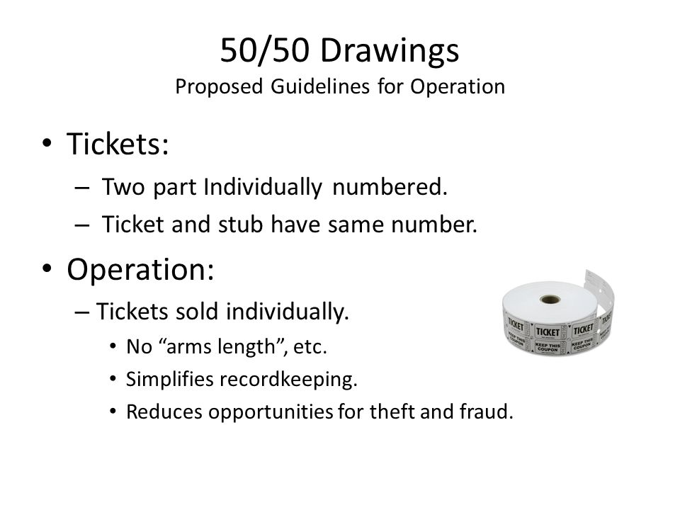 50/50 Drawings Proposed Guidelines for Operation Tickets: – Two part Individually numbered.