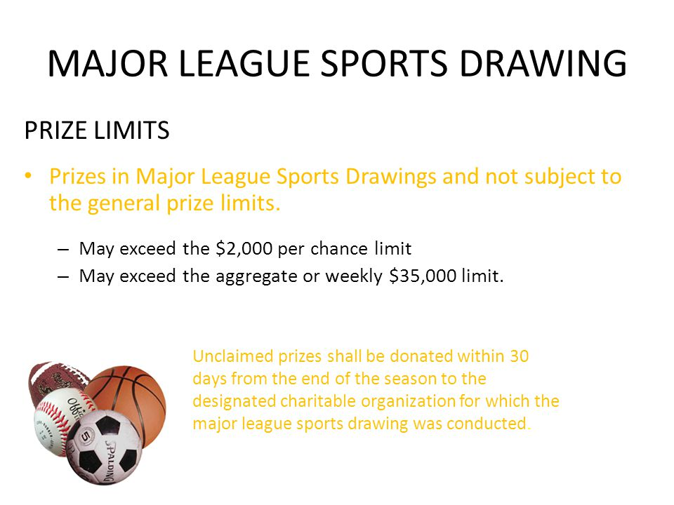 MAJOR LEAGUE SPORTS DRAWING PRIZE LIMITS Prizes in Major League Sports Drawings and not subject to the general prize limits.