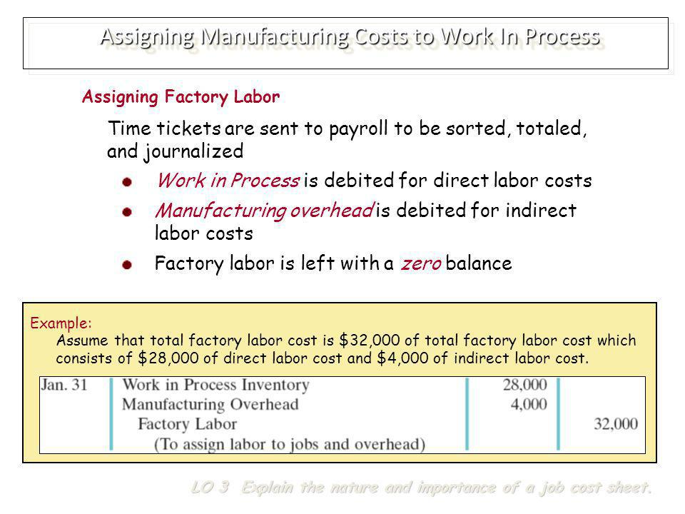 Assigning Manufacturing Costs to Work In Process LO 3 Explain the nature and importance of a job cost sheet.