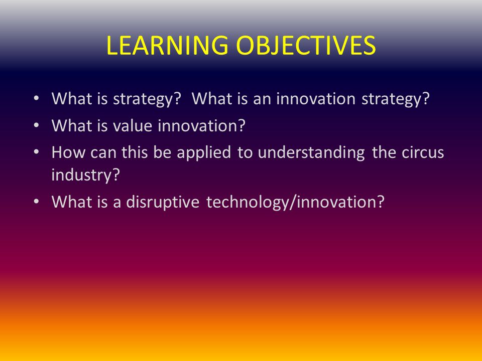 LEARNING OBJECTIVES What is strategy.What is an innovation strategy.