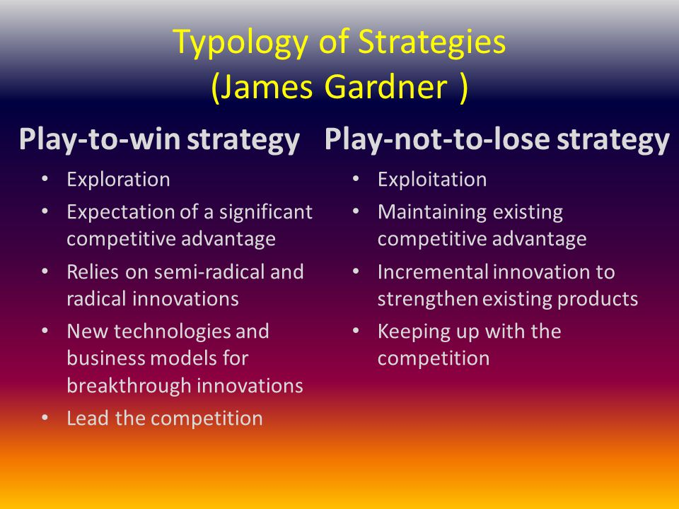 Typology of Strategies (James Gardner ) Play-to-win strategy Exploration Expectation of a significant competitive advantage Relies on semi-radical and radical innovations New technologies and business models for breakthrough innovations Lead the competition Play-not-to-lose strategy Exploitation Maintaining existing competitive advantage Incremental innovation to strengthen existing products Keeping up with the competition