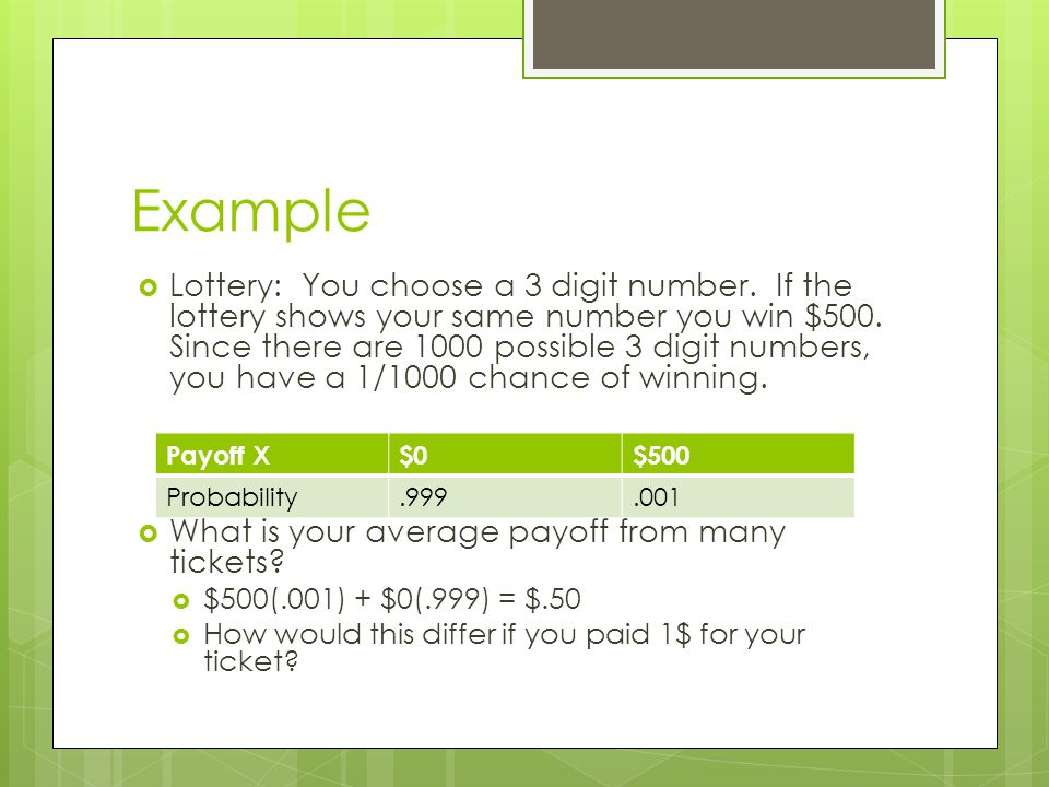 Example Lottery: You choose a 3 digit number. If the lottery shows your same number you win $500. Since there are 1000 possible 3 digit numbers, you h