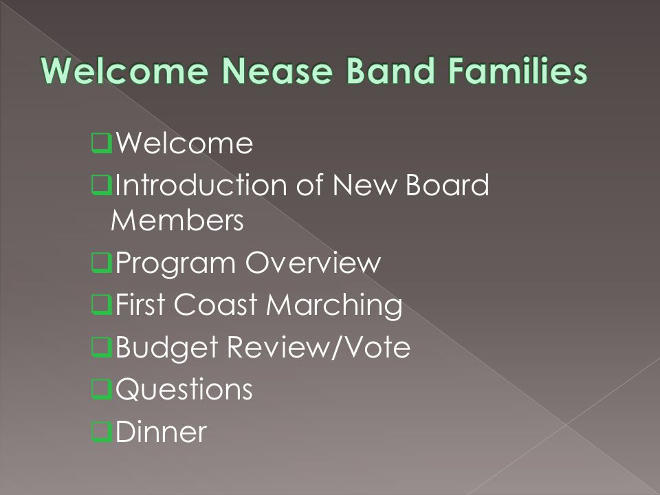 Welcome Introduction of New Board Members Program Overview First Coast Marching Budget Review/Vote Questions Dinner