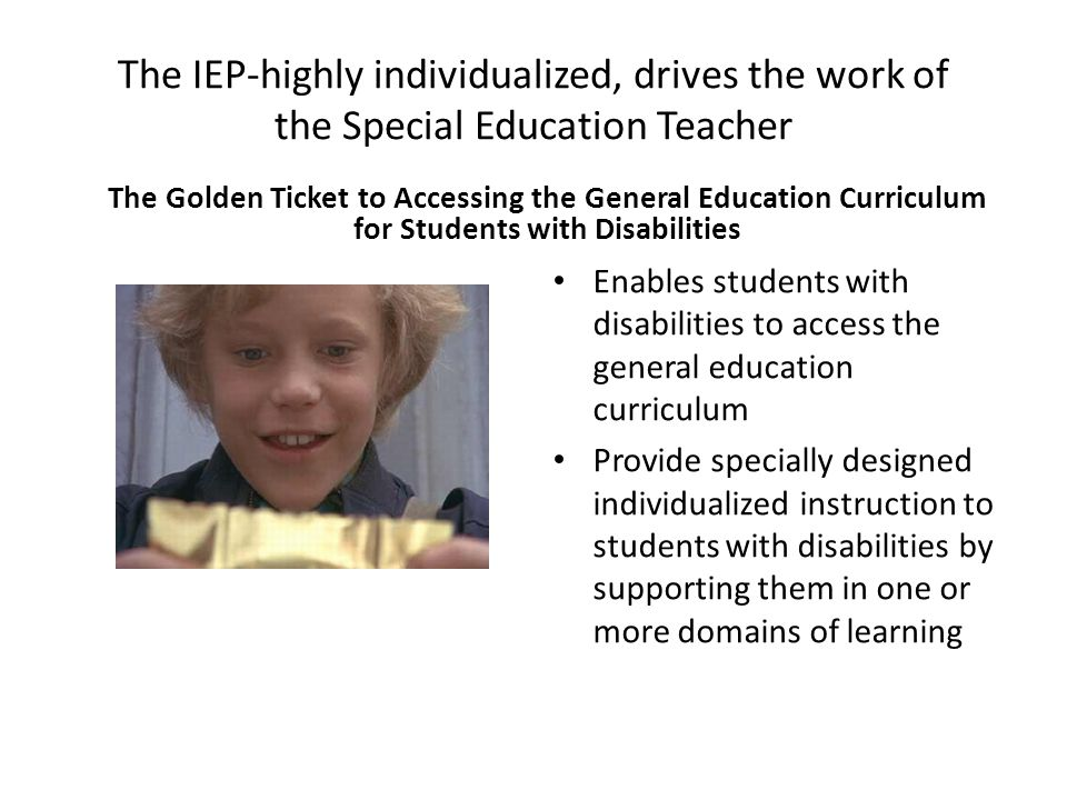 Accomplished through the Delivery of Specially Designed Instruction Adapting-Making changes matched to student need or condition Content-Knowledge and skills that comprise the curriculum Methodology-Actions by the teacher intended to produce or facilitate learning Instructional Delivery-Teaching that results in access to, participation in and progress in the curriculum for students with disabilities