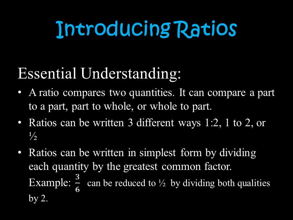 Introducing Ratios
