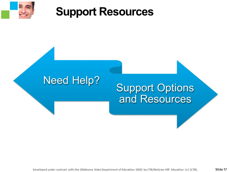 Need Help? Support Options and Resources Slide 17 Support Resources Developed under contract with the Oklahoma State Department of Education (SDE) by