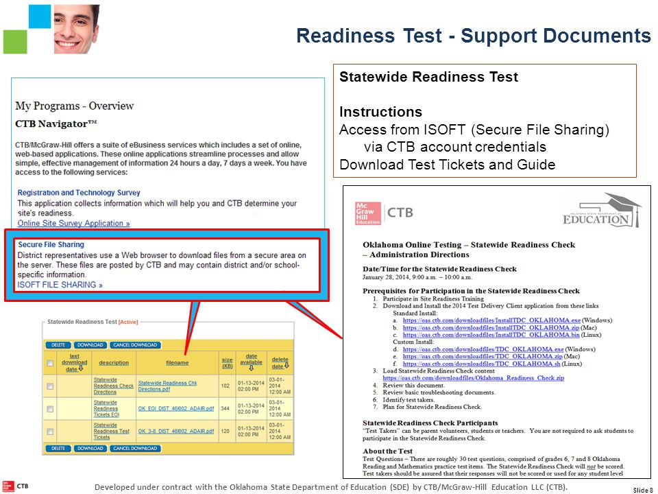 Statewide Readiness Test Instructions Access from ISOFT (Secure File Sharing) via CTB account credentials Download Test Tickets and Guide Readiness Test - Support Documents Slide 8 Developed under contract with the Oklahoma State Department of Education (SDE) by CTB/McGraw-Hill Education LLC (CTB).