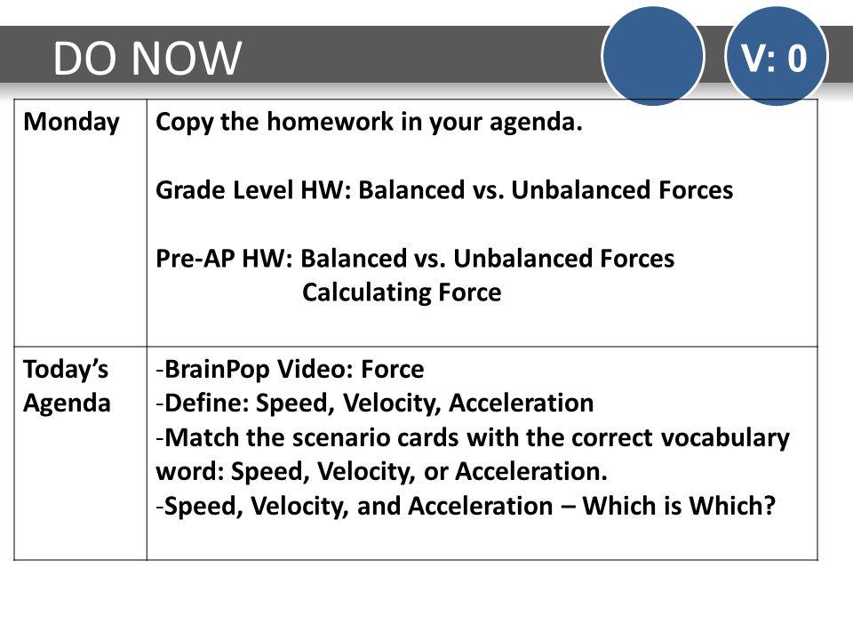 DO NOW V: 0 MondayCopy the homework in your agenda. Grade Level HW: Balanced vs. Unbalanced Forces Pre-AP HW: Balanced vs. Unbalanced Forces Calculati