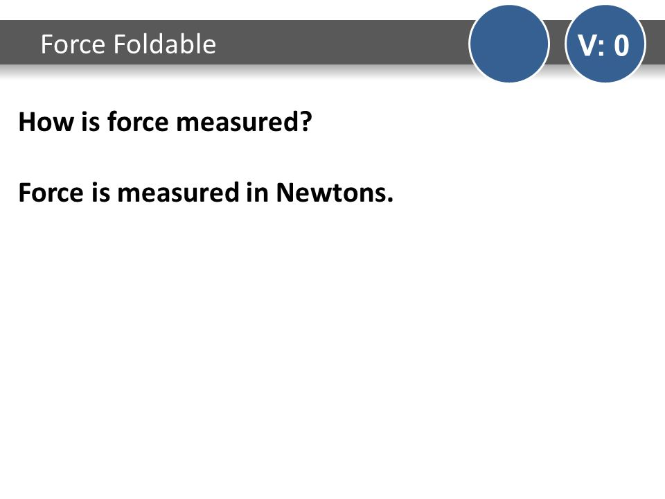 How is force measured Force is measured in Newtons. Force Foldable V: 0