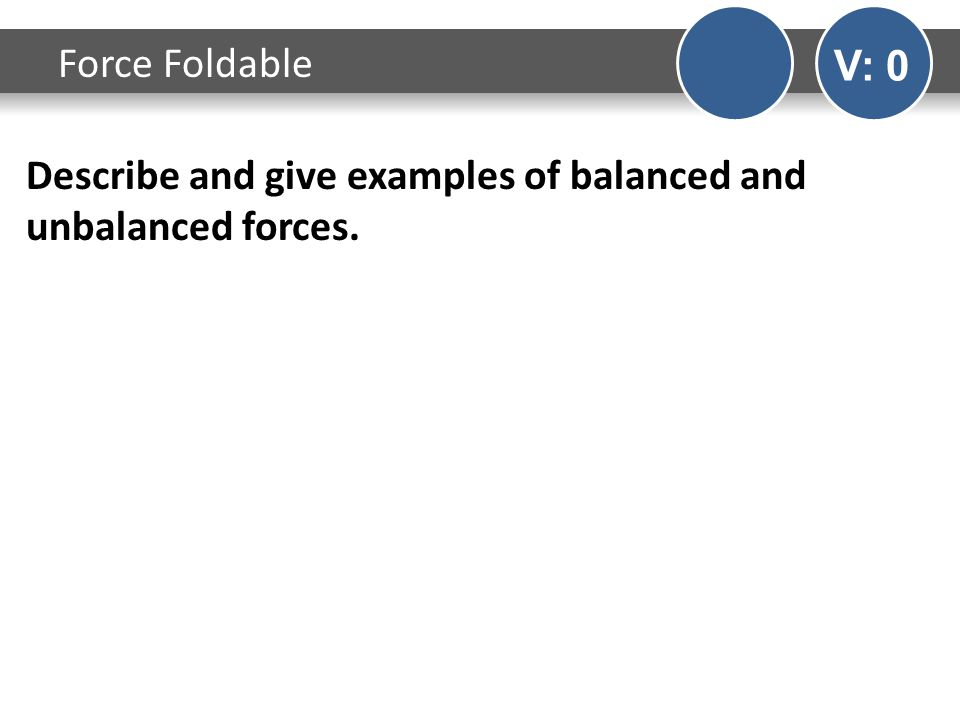 Describe and give examples of balanced and unbalanced forces. Force Foldable V: 0
