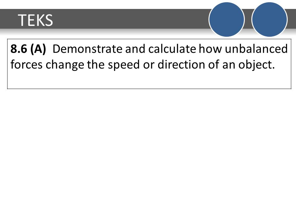 TEKS 8.6 (A) Demonstrate and calculate how unbalanced forces change the speed or direction of an object.