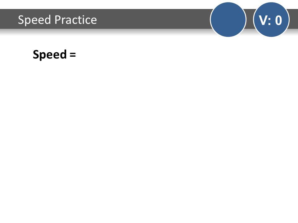 Speed Practice V: 0 Speed =