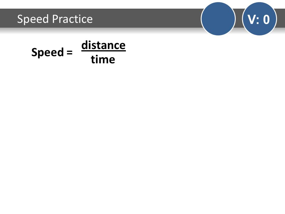 Speed Practice V: 0 Speed = distance time