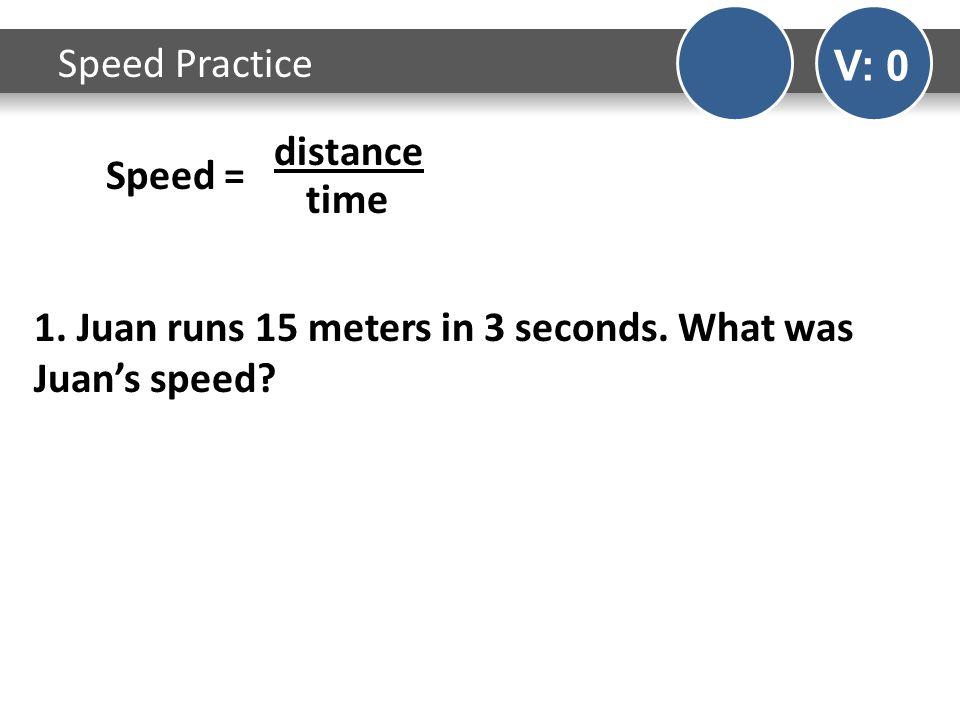 Speed Practice V: 0 Speed = distance time 1. Juan runs 15 meters in 3 seconds. What was Juans speed?