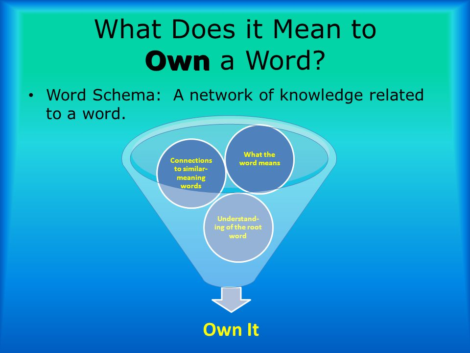 Own What Does it Mean to Own a Word. Word Schema: A network of knowledge related to a word.