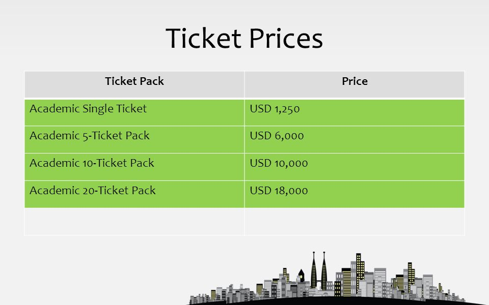 Ticket Prices Ticket PackPrice Academic Single TicketUSD 1,250 Academic 5-Ticket PackUSD 6,000 Academic 10-Ticket PackUSD 10,000 Academic 20-Ticket PackUSD 18,000