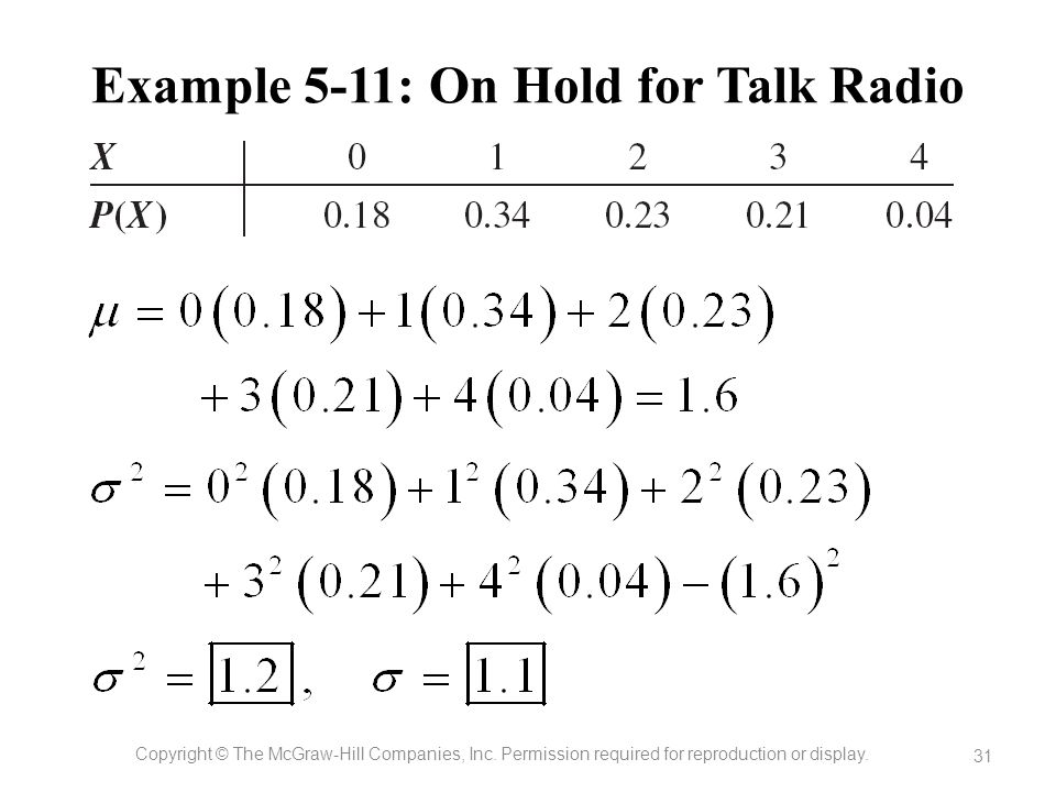 Example 5-11: On Hold for Talk Radio Copyright © The McGraw-Hill Companies, Inc. Permission required for reproduction or display. 31