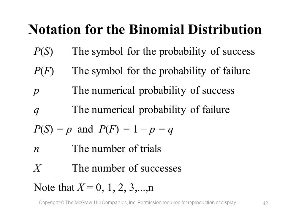 Notation for the Binomial Distribution Copyright © The McGraw-Hill Companies, Inc. Permission required for reproduction or display. 42 The symbol for