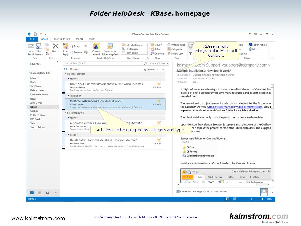 KBase is fully integrated in Microsoft Outlook.