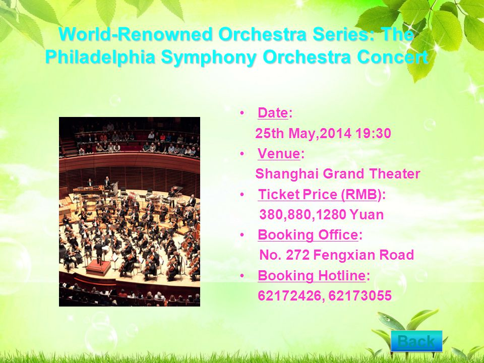 World-Renowned Orchestra Series: The Philadelphia Symphony Orchestra Concert Date: 25th May,2014 19:30 Venue: Shanghai Grand Theater Ticket Price (RMB): 380,880,1280 Yuan Booking Office: No.