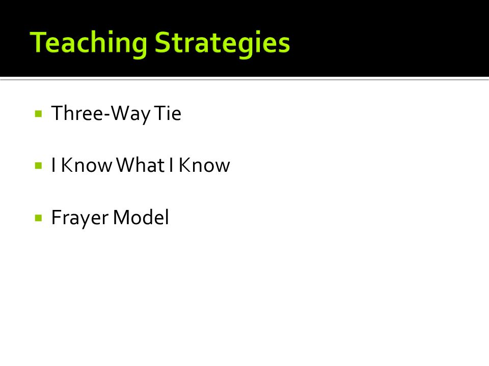 Three-Way Tie I Know What I Know Frayer Model