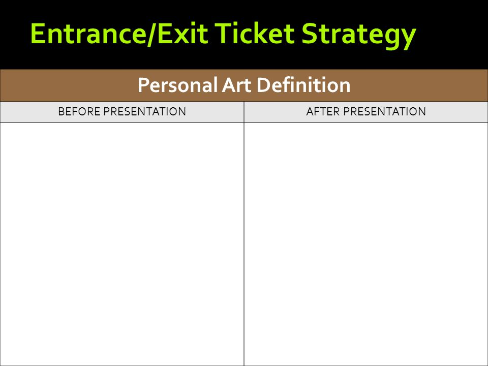 Personal Art Definition BEFORE PRESENTATIONAFTER PRESENTATION Entrance/Exit Ticket Strategy