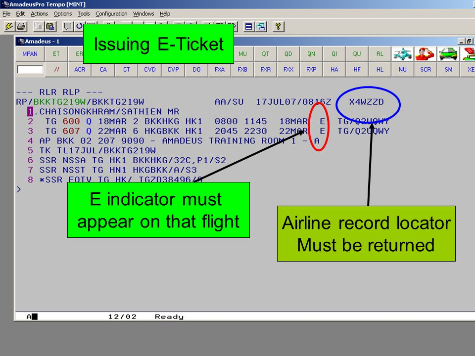 Issuing E-Ticket E indicator must appear on that flight Airline record locator Must be returned