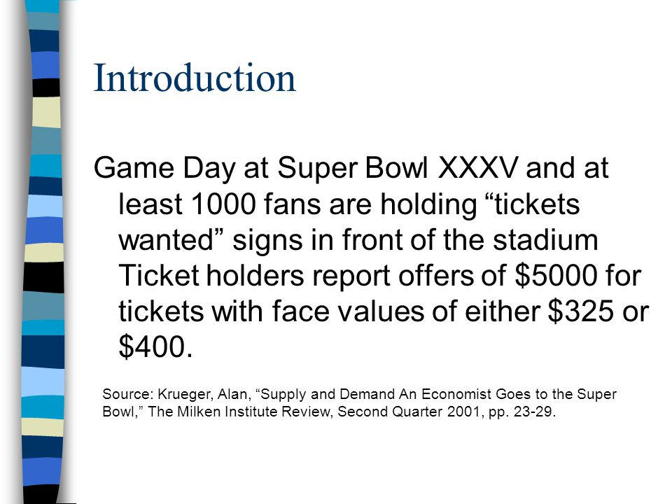 Introduction Game Day at Super Bowl XXXV and at least 1000 fans are holding tickets wanted signs in front of the stadium Ticket holders report offers